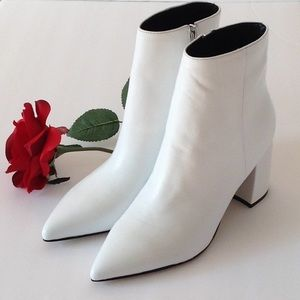 🍃🌹Marc Fisher 'Retire' Pure White Leather Bootie